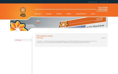 Screenshot of Press Page atsmachine.com.tr - .:: ATS Machine Systems | Solution Provider ::. ATS 2014 News - captured Feb. 5, 2016
