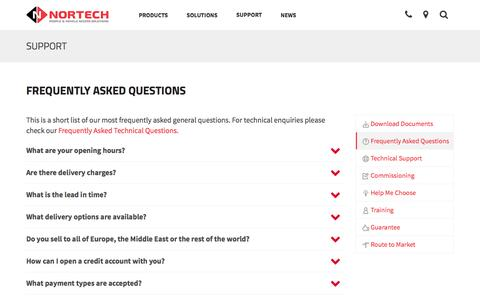 Screenshot of FAQ Page nortechcontrol.com - Frequently Asked Questions | Nortech Control Systems Ltd - captured Feb. 25, 2016