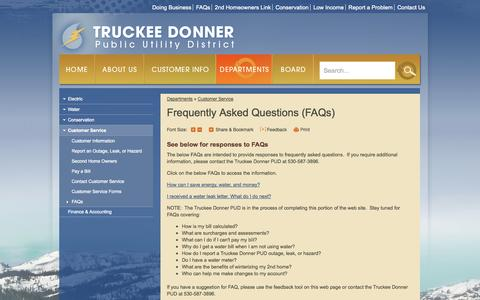 Screenshot of FAQ Page tdpud.org - Truckee Donner Public Utility District : FAQs - captured Oct. 9, 2014
