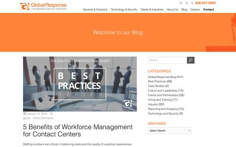 Screenshot of Team Page globalresponse.com - 5 Benefits of Workforce Management for the Contact Center - Global Response - captured Feb. 20, 2020