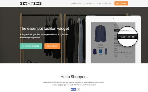 Screenshot of Home Page getmysize.com.au - Get My Size - The perfect size. Every time. - captured Sept. 29, 2014