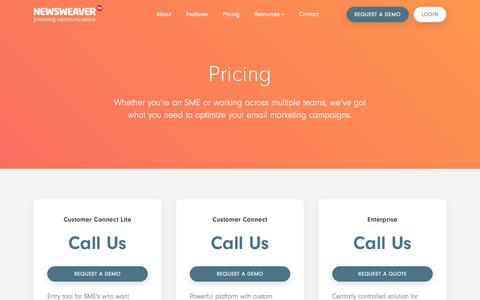 Screenshot of Pricing Page newsweaver.com - Pricing | Software that Drives Engagement | Newsweaver - captured May 9, 2017