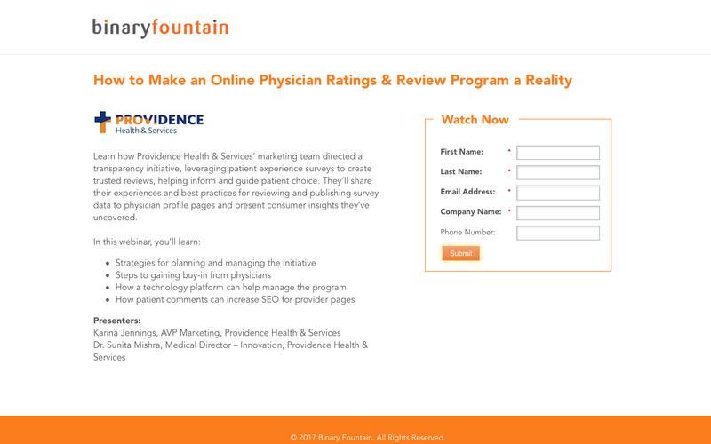 Webinar: Online Physician Ratings & Review Program