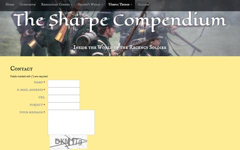 Screenshot of Contact Page sharpecompendium.net - Contact   The Sharpe Compendium - captured March 24, 2017
