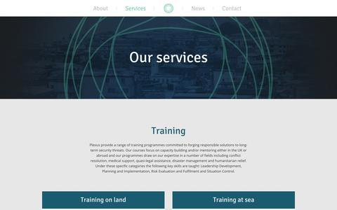 Screenshot of Services Page plexus-consultancy.com - Services - Plexus - captured Oct. 2, 2014