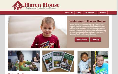 Screenshot of Home Page havenhouseel.org - Haven House of East Lansing - captured Sept. 20, 2015