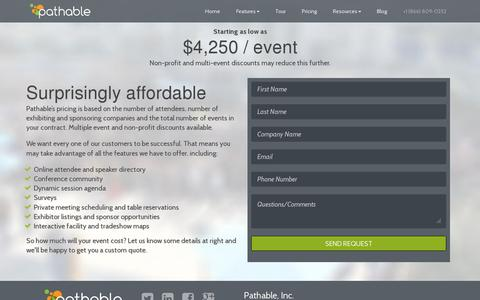 Screenshot of Pricing Page pathable.com - Pricing for Mobile Event App and Web Site | Pathable - captured July 19, 2014