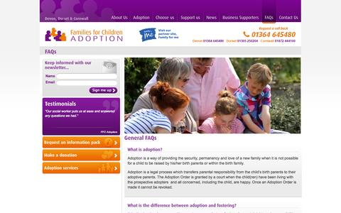 Screenshot of FAQ Page familiesforchildren.org.uk - Families for children adoption agency in Devon, Dorset, Cornwall and the Isles of Scilly - captured Oct. 5, 2014