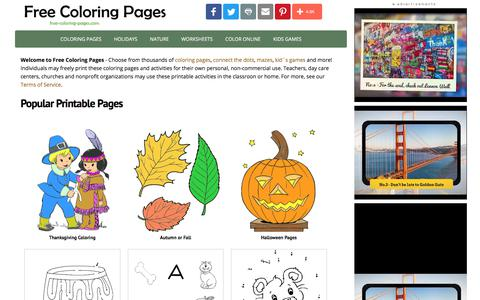 Screenshot of Home Page free-coloring-pages.com - Coloring Pages - captured Oct. 22, 2017