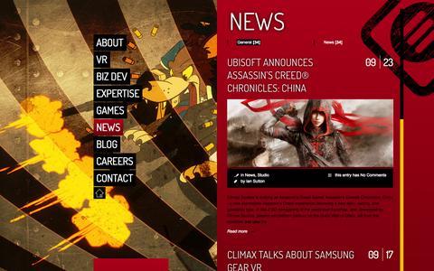 Screenshot of Press Page climaxstudios.com - Climax Studios |   News - captured Oct. 2, 2014