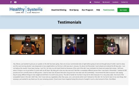 Screenshot of Testimonials Page healthysystemsusa.com - Testimonials | Healthy Systems USA - captured July 17, 2018