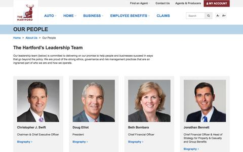 Screenshot of Team Page thehartford.com - Our People & Management Team | The Hartford - captured March 9, 2018
