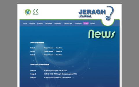 Screenshot of Press Page jeragh-lighting.com - Press - captured Sept. 30, 2014