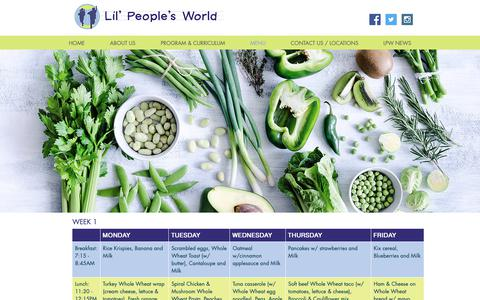 Screenshot of Menu Page lilpeoplesworld.com - Lil' People's World   Before and After School Child care - captured Nov. 9, 2018