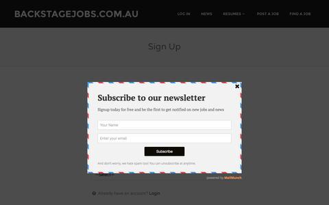 Screenshot of Signup Page backstagejobs.com.au - Sign Up   backstagejobs.com.au - captured Feb. 7, 2016