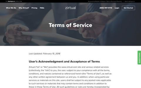 Screenshot of Terms Page zirtual.com - Terms of Service | Zirtual - captured July 13, 2018