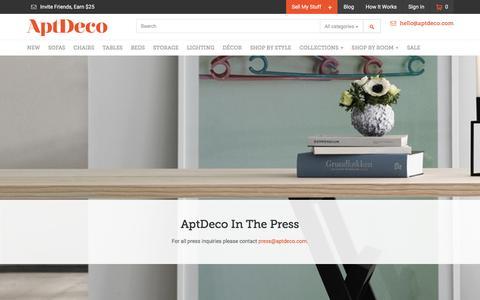 Screenshot of Press Page aptdeco.com - AptDeco - captured Dec. 4, 2015