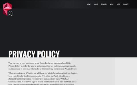 Screenshot of Privacy Page pcicom.com - Privacy Policy   PCI - captured Oct. 1, 2014