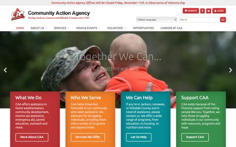 Screenshot of Home Page caajlh.org - Community Action Agency Jackson Lenawee Hillsdale - captured Nov. 9, 2016