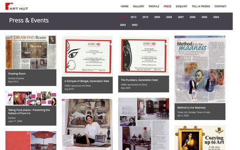 Screenshot of Press Page arthut.co.in - ART HUT : Press, Events, Year-wise | Website Designed and Developed by Convivial Software - captured Nov. 19, 2016