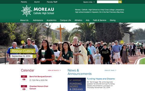 Screenshot of Home Page moreaucatholic.org - Moreau Catholic High School - captured Oct. 6, 2014