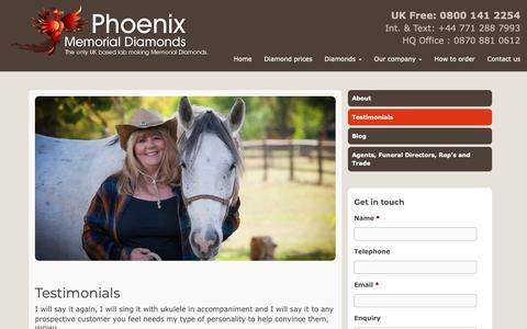 Screenshot of Testimonials Page phoenix-memorial-diamonds.com - Testimonials - Phoenix Memorial Diamonds - captured Dec. 8, 2018