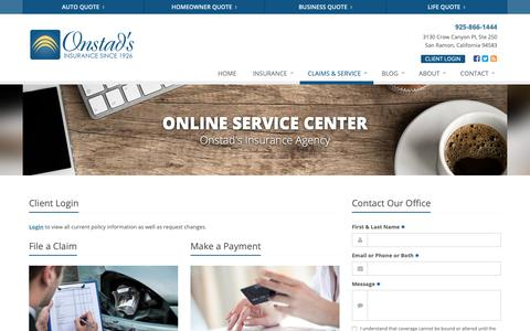 Screenshot of Support Page onstads.com - Service Your Insurance Policy | Onstad's Insurance Agency - captured Oct. 19, 2018