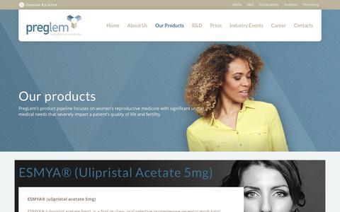 Screenshot of Products Page preglem.com - Products - PregLem.com - captured July 19, 2017