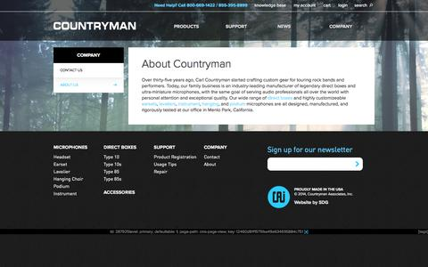 Screenshot of About Page countryman.com - About Us  | Countryman Associates, Inc. - captured Oct. 3, 2014