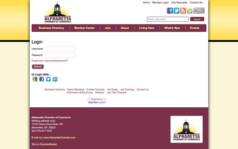 Screenshot of Login Page alpharettachamber.com - Login - Alpharetta Chamber of Commerce - captured Oct. 4, 2014