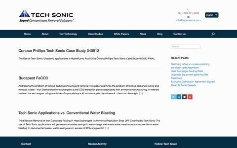 Screenshot of Case Studies Page techsonic.ca - Case Studies Archives | Tech Sonic International - captured Feb. 23, 2016