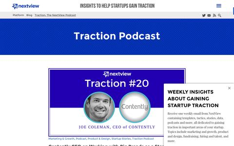 Screenshot of nextviewventures.com - Traction Podcast Archives - NextView Ventures - captured March 20, 2016