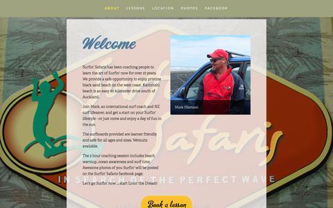Screenshot of About Page surfinsafaris.co.nz - About — Surfin Safaris - captured Dec. 2, 2016