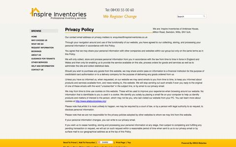 Screenshot of Privacy Page inspireinventories.co.uk - Privacy policy - captured Sept. 30, 2014