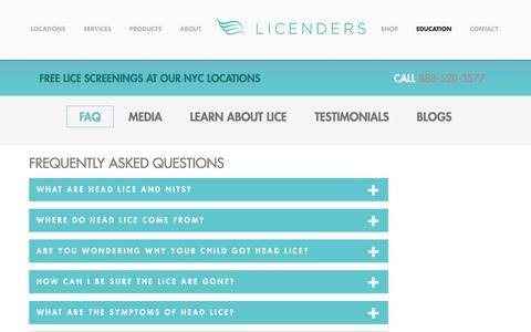 Screenshot of FAQ Page licenders.com - FAQs - LICENDERS - captured July 14, 2016
