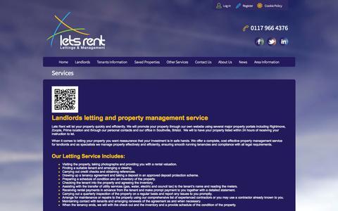 Screenshot of Services Page letsrentbristol.co.uk - Landlords Letting and Property Management, Bedminster Bristol - captured Oct. 2, 2014