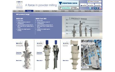Screenshot of Products Page iituk.com - International Innovative Technologies | Mill product range - captured Oct. 6, 2014