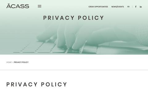Screenshot of Privacy Page acass.com - Privacy Policy - ACASS - captured Nov. 6, 2018