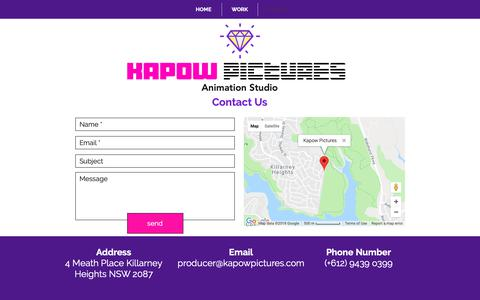 Screenshot of Contact Page kapowpictures.com - Kapow Pictures contact - captured Nov. 6, 2018