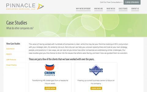 Screenshot of Case Studies Page pinnaclehr.net - Case Studies | Pinnacle Employer Services - captured Oct. 2, 2014