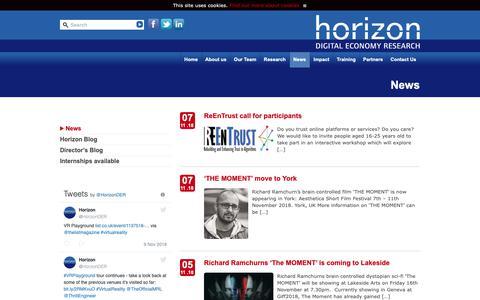 Screenshot of Press Page horizon.ac.uk - News : Horizon - captured Nov. 11, 2018