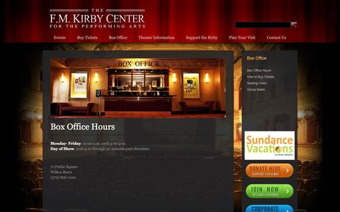 Screenshot of Hours Page kirbycenter.org - Box Office Hours - The F.M. Kirby Center for the Performing Arts - captured Oct. 2, 2018