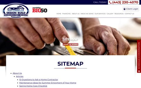 Screenshot of Site Map Page designbuildremodelinggroup.com - Sitemap   Design Build Remodeling Group of Maryland   Eldersburg, MD - captured Oct. 8, 2018