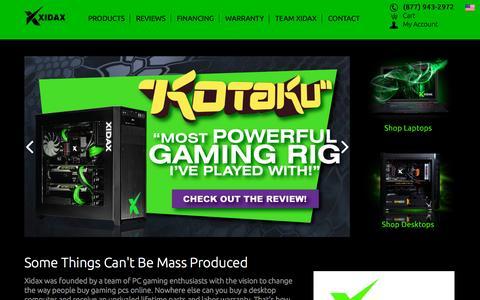 Screenshot of Home Page xidax.com - Xidax - Gaming Computers & Custom PCs - captured Oct. 22, 2015