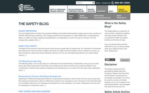 Screenshot of Blog safetyservicescompany.com - Safety Articles, OSHA Updates, and Safety Resources from Safety Services Company - captured Sept. 17, 2014
