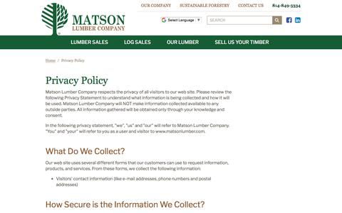 Screenshot of Privacy Page matsonlumber.com - Matson Lumber Company | Privacy Policy - captured June 24, 2018