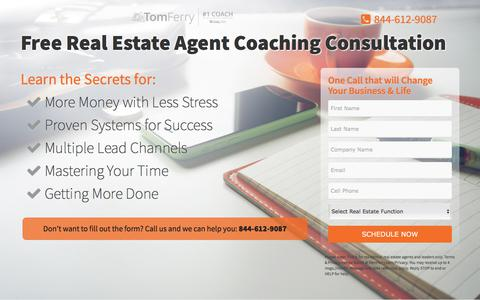 Screenshot of Landing Page tomferry.com - Free Real Estate Agent Coaching Consultation - Tom Ferry - captured May 11, 2018