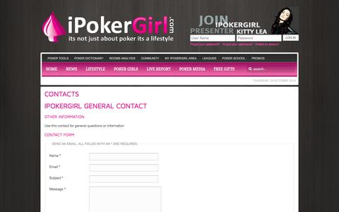 Screenshot of Privacy Page Contact Page FAQ Page ipokergirl.com - IPOKERGIRL - captured Oct. 23, 2014