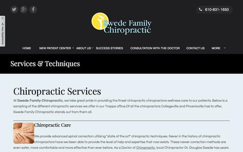 Screenshot of Services Page swedefamilychiropractic.com - Chiropractor Collegeville | Chiropractor Phoenixville | Chiropractic Trappe - captured Sept. 21, 2018