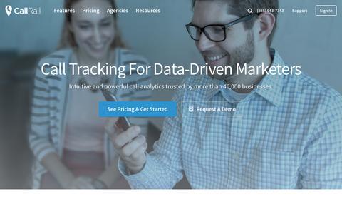 Screenshot of Home Page callrail.com - Call Tracking - Phone Call Analytics for PPC, SEO, and Direct Marketing - captured Nov. 22, 2016